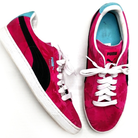 best sneakers acec0 5ff17 Puma Suede Mens Pink Tropical Palm Tree Shoes 10.5